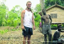 Matthew O'Sullivan at the new church project in the Solomon Islands.