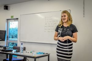 Jess Bond at her workshop on music  ministry.